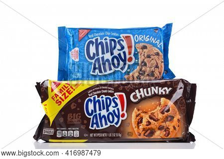 IRVINE, CALIFORNIA - 16 MAY 2020: A package of Nabisco Chips Ahoy Original Cookies and Chunky Chips Ahoy.