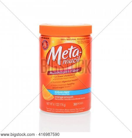 IRVINE, CA - JUNE 23, 2014: A 6 ounce container of Meta-Mucil orange flavored fiber powder. Meta-Mucil is a 100% natural Psyllium Husk daily fiber supplement, from Procter and Gamble.