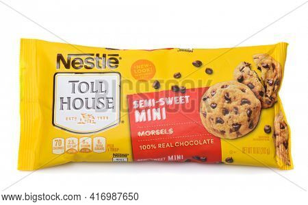 IRVINE, CALIFORNIA - 28 SEPT 2019: A package of Nestle Toll House Mini Semi-Sweet Chocolate Chips.