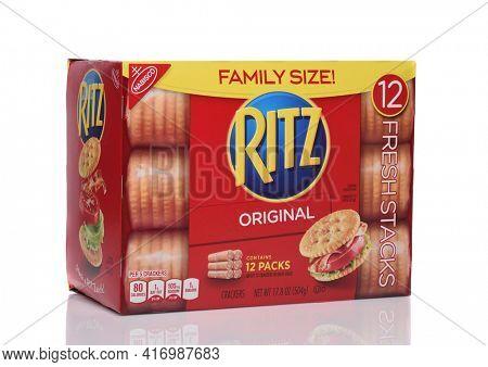 IRVINE, CALIFORNIA - 24 DECEMBER 2019: A Family Size box of Nabisco Ritz Crackers.
