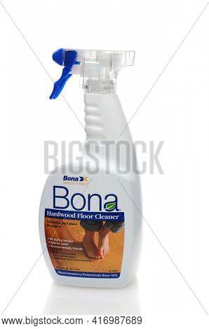 IRVINE, CALIFORNIA - 31 JAN 2011: Single 32oz bottle of Bona Hardwood Floor Cleaner on a white background.