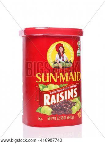 IRVINE, CALIFORNIA - 24 DECEMBER 2019: A box of Sun Maid Raisins, California Sun-Dried.