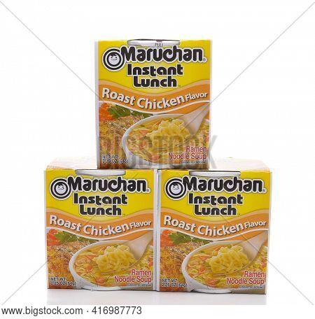 IRVINE, CALIFORNIA - MARCH 10,  2018: Maruchan Instant Lunch Roast Chicken Flavor, Maruchan began making the popular instant lunch in 1961.