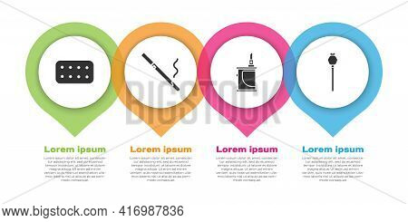 Set Pills In Blister Pack, Cigarette, Electronic Cigarette And Opium Poppy. Business Infographic Tem