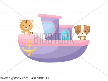 Cute Little Cat And Dog Sailing On Violet Ship. Cartoon Character For Childrens Book, Album, Baby Sh
