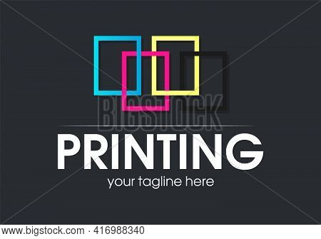 Digital Print Logo Design Template. Typography Modern Sign. Polygraphy And Print Factory. Express Pr