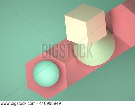 Abstract Colorful Geometric  Installation Of Primitive Shapes. 3d Rendering Illustration