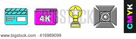 Set Movie Clapper, Online Play Video With 4k, Movie Trophy And Movie Spotlight Icon. Vector