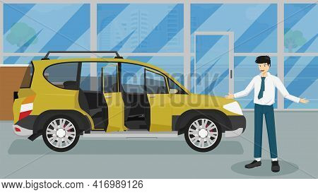 Happy Businessman Shows Hands Inviting To Welcome To Use The Service. Luxury Yellow Cars With Openin
