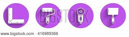 Set Corner Ruler, Paint Roller Brush, Angle Grinder And Putty Knife Icon With Long Shadow. Vector