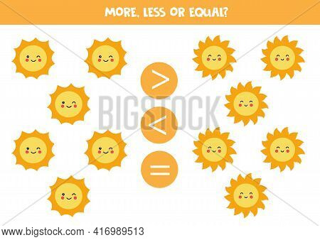 More, Less Equal With Cute Suns. Math Game