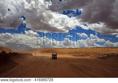 Page, Arizona / Usa - August 05, 2015: The Road To Upper Antelope Canyon, Page, Arizona, Usa