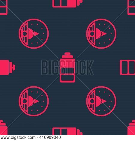 Set Ampere Meter, Multimeter, Voltmeter And Battery Charge Level Indicator On Seamless Pattern. Vect