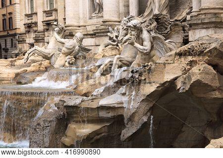 Roma, Italy - October 04, 2017: The Fontana Di Trevi, Rome, Italy.