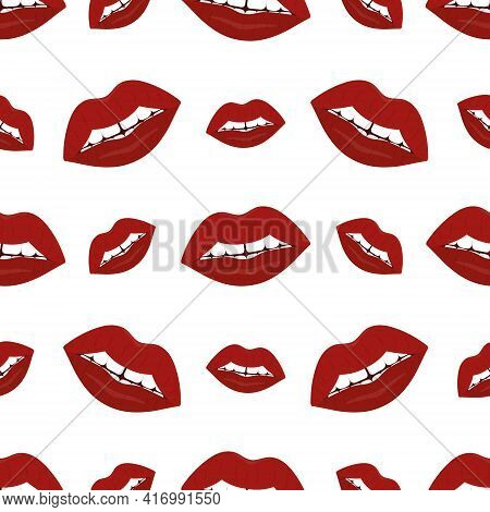 Plump Lips. The Seductive Mouth Is Slightly Open. Repeating Vector Pattern. Seamless Seductive Ornam
