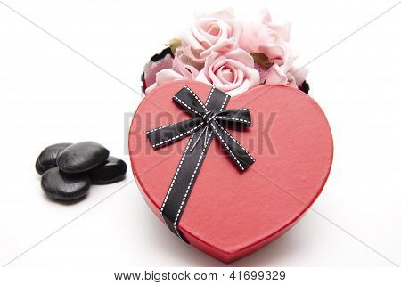 Red Heart with ribbon for Lovers