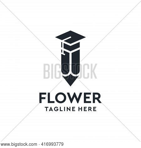 Education Pencil Learn Graduate Logo Design Vector Inspiration. Logo Can Be Used For Icon, Brand, Id