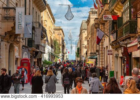 Valletta, Malta - January 11, 2019: People in the center of Valletta, the capital city of Malta.