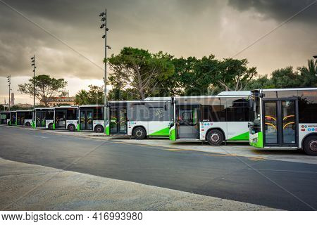Valletta, Malta - January 11, 2019: Bus station in the city center of Valletta, the capital of Malta.