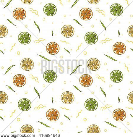 Lemon, Lime And Orange Slices Seamless Pattern. Colorful Fresh Fruit Slices Top View Ornament. Repea