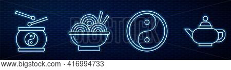 Set Line Yin Yang, Chinese Drum, Asian Noodles In Bowl, Chinese Tea Ceremony And Yin Yang. Glowing N