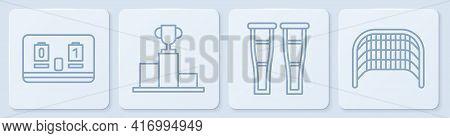 Set Line Hockey Mechanical Scoreboard, Crutch Or Crutches, Hockey Over Sports Winner Podium And Ice