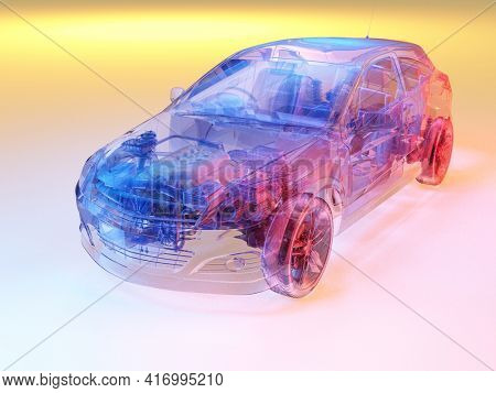 Glass auto on white background..3d render