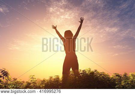 Girl joyful in the field., 3d render