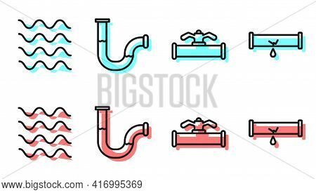 Set Line Industry Pipe And Valve, Wave, Industry Metallic Pipe And Broken Pipe With Leaking Water Ic