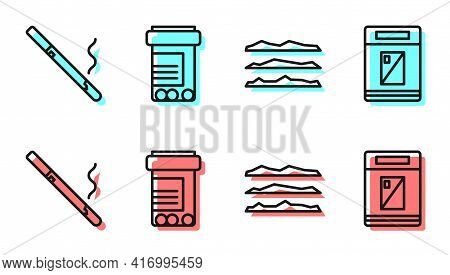 Set Line Cocaine Or Heroin Drug, Cigarette, Medicine Bottle And Pills And Cigarettes Pack Box Icon.