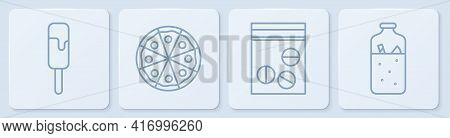 Set Line Ice Cream, Plastic Bag Of Drug, Pizza And Mulled Wine. White Square Button. Vector