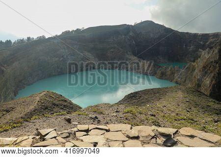 Colourful Crater Lakes Of Kelimutu Volcano, Flores Island, Indonesia. Kelimutu Has 3 Lakes, Includin
