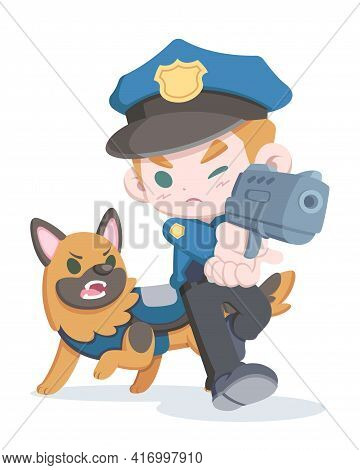 Cute Style Police Officer Aiming Gun And Dog Cartoon Illustration