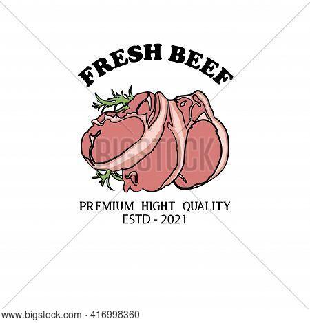 Fresh Beef Design Logo Vector. Beef Logo Restaurant