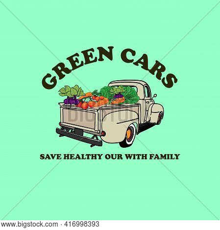 Green Cars Vegetable Design Logo Vector. Illustration Green Cars Vector