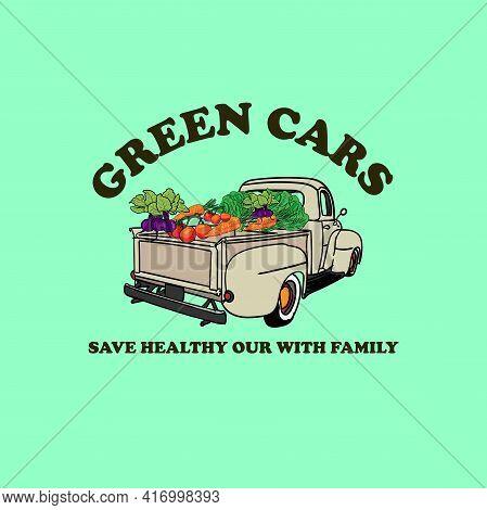 Green Cars Vegetable Design Logo Vector. Illustration Green Cars Vector
