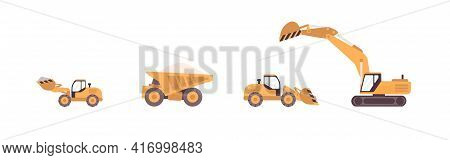 Dump Truck, Excavator, Bulldozer, And Backhoe Isolated On White. Set Of Tracked And Wheeled Building