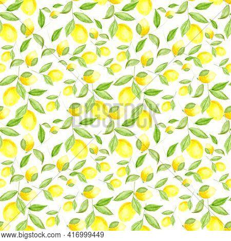 Watercolor Lemon. Lemons Pattern. Lemons Are Painted With Watercolors.
