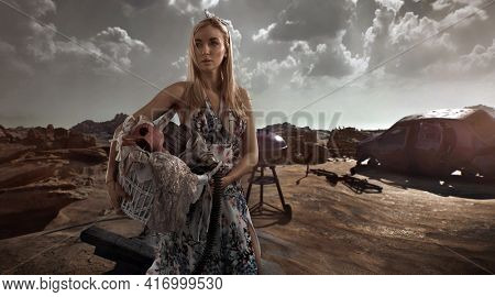 Post-apocalyptic beautiful blonde woman outdoor
