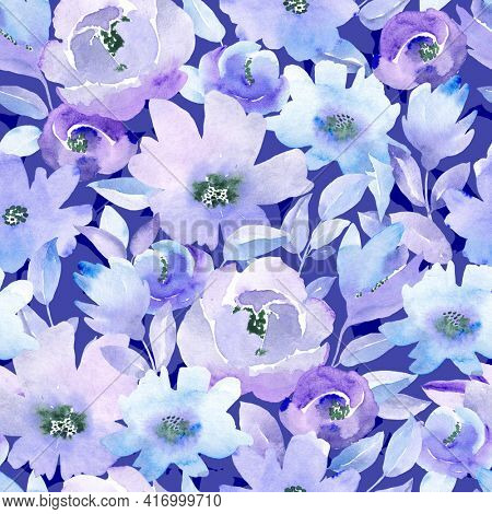 Seamless pattern with blue and lilac flowers and leaves on black background. Watercolor floral pattern, flower rose in pastel color, tileable for wallpaper, card or fabric.