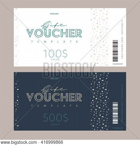 Monetary Gift Voucher, Digital Promo Code Card Template Set. Money Present Coupon Mockup With Vector