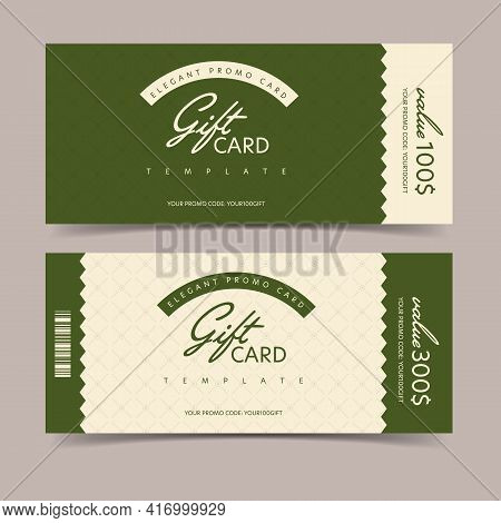 Elegant Valuable Gift Card With Promo Code Template. Universal Vector Tear-off Shopping Ticket Mocku