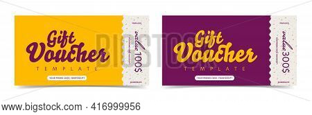 Gift Voucher Ticket Card With Different Monetary Value. Discount Coupon Template With Money Reward.