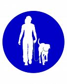 Traffic sign for people walking with dogs poster