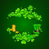 Irish four leaf lucky clovers, golden coins and leprechaun hat background for Happy St. Patrick's Day. EPS 10. poster