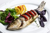 Dish with the baked fish and vegetables poster