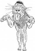 vector - Smilodon - saber-toothed tiger jumping poster