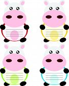 Cartoon cow memo or note cute concept illustration poster