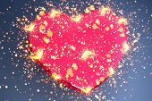 pink heart shape with sparks poster