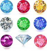 Set of colored gems isolated on white background poster